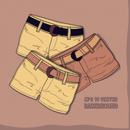 Illustration pour Fond vectoriel avec différents shorts . - image libre de droit