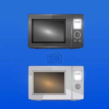 Illustration pour Micro-ondes noir et blanc - illustration vectorielle - image libre de droit