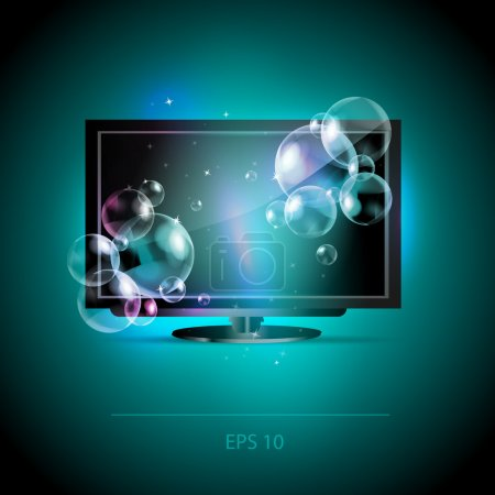 Vector LCD Tv monitor with bubbles