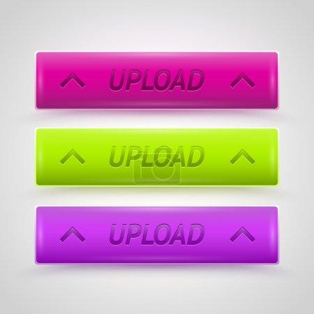 Illustration pour Boutons de téléchargement brillants, conception vectorielle - image libre de droit