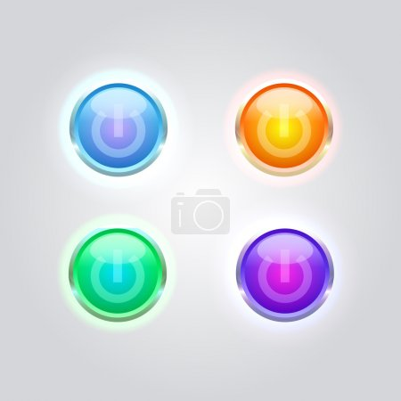 Illustration for Vector set of glossy power buttons. - Royalty Free Image