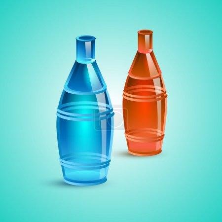 Illustration pour Bouteille vide rouge et bleue. Illustration vectorielle - image libre de droit