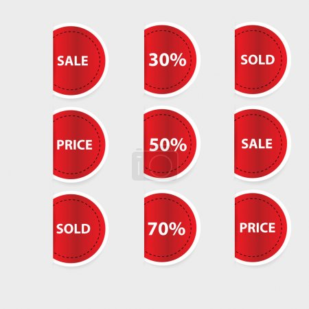 Set of red discount labels. Vector.