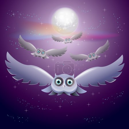 Vector illustration of flying owls in the night sky with moon