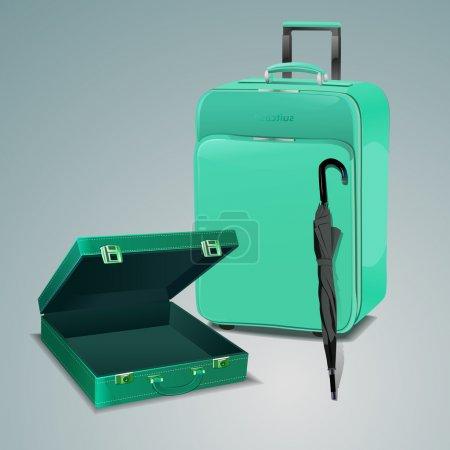 Travel bag with umbrella. Vector illustration.