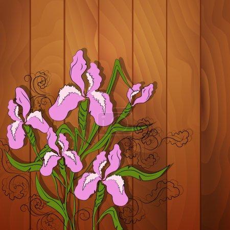 Iris flower vector image on wooden background