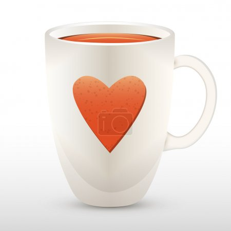 Cup of tea with heart. Vector illustration.