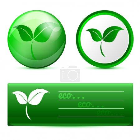Illustration pour Éco bannière avec boutons. Illustration vectorielle . - image libre de droit
