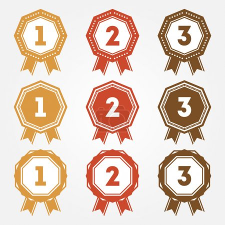Illustration for Set of vector retro ranking badges - Royalty Free Image