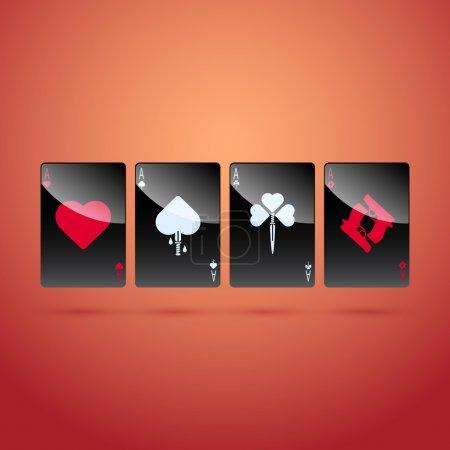 Glass poker aces. Vector illustration.