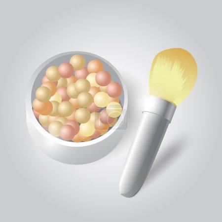 Illustration pour Illustration vectorielle de poudre cosmétique et pinceau - image libre de droit