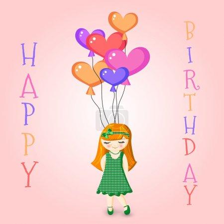 Illustration pour Illustration vectorielle d'une fille tenant des ballons d'anniversaire - image libre de droit