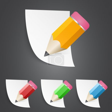 Vector illustration of sharpened fat pencils with paper pages