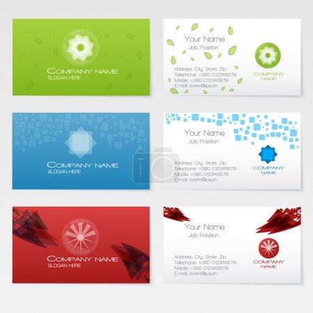Illustration pour Ensemble vectoriel trois cartes de visite, éléments pour le design . - image libre de droit