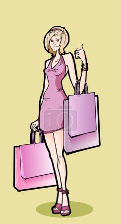 Illustration pour Belle femme avec des sacs à provisions - image libre de droit