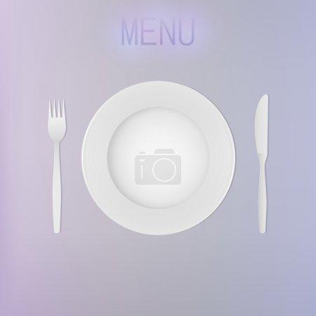 Illustration pour Assiette, couteau et fourchette vides - image libre de droit