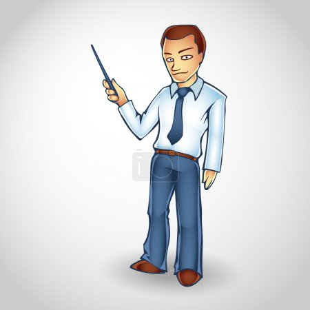 Cartoon business man points upwards with pointer on copy space