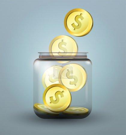 Vector moneybox with golden dollar coins