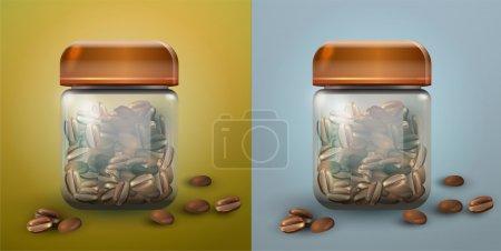 Illustration pour Illustration isolée de deux pots de café en verre . - image libre de droit