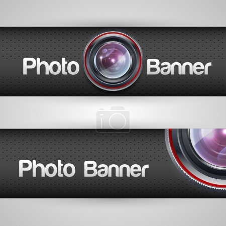 Illustration for Photo banner with lens. Vector illustration. - Royalty Free Image