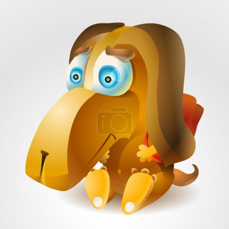 A vector illustration of cartoon dog with backpack.