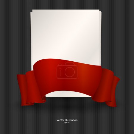 A sheet of paper with red ribbon. Vector illustration.