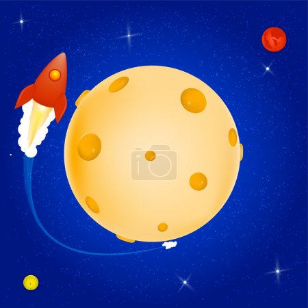 Space rocket orbiting around the Cheese planet. Vector