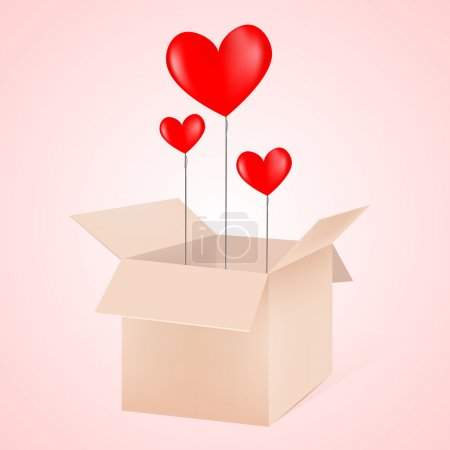 Open box with hearts as balloons vector illustration