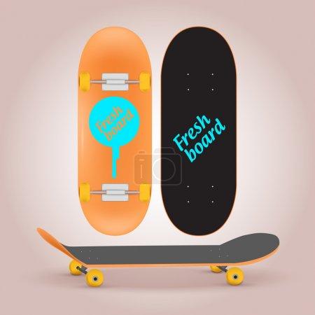 Illustration for Vector illustration of skateboard upper and lower side - Royalty Free Image