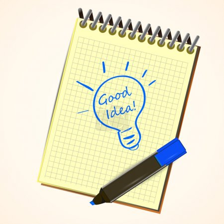 Vektor-Notizbuch mit Filzstift, das ein Ideensymbol Glühbirne auf einer Seite linierten Notizbuchs zeichnet