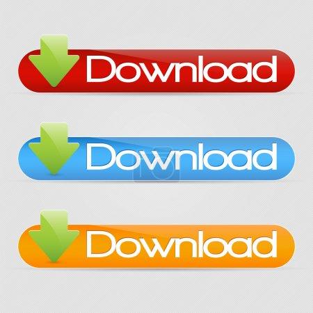 Illustration pour Jeu de boutons de téléchargement vectoriels lisses - image libre de droit