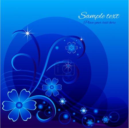 Vector blue floral background