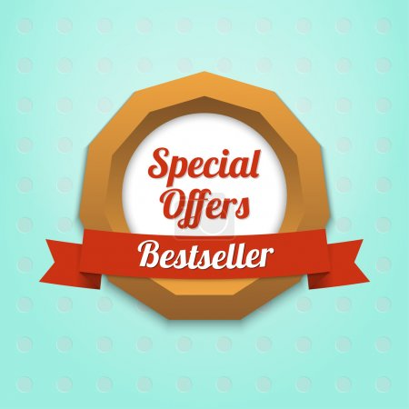 Illustration for Special offers label. Bestseller - Royalty Free Image