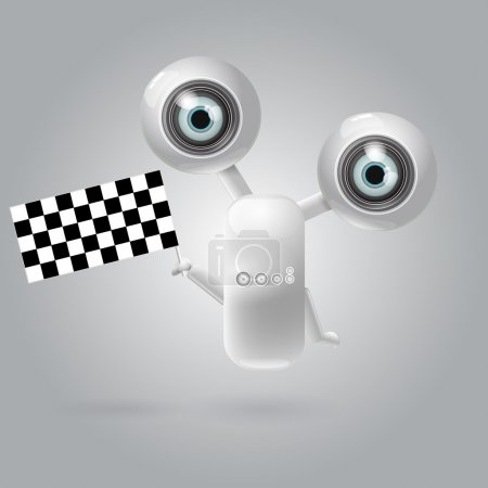 Cute robot with flag racing . EPS 10 vector illustration