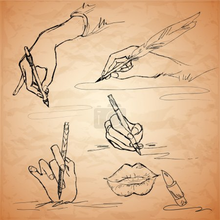 Vector illustrations of an hand writing with a feather pen, lips, lipstick
