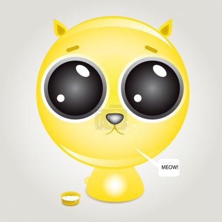 Illustration pour Chaton affamé mignon près du bol de nourriture du chat - image libre de droit