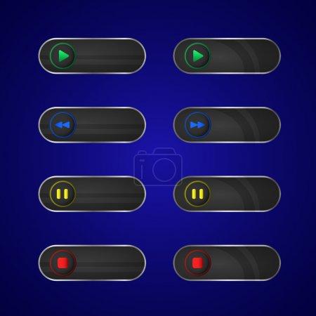 Illustration pour Boutons de lecteur multimédia, illustration vectorielle - image libre de droit