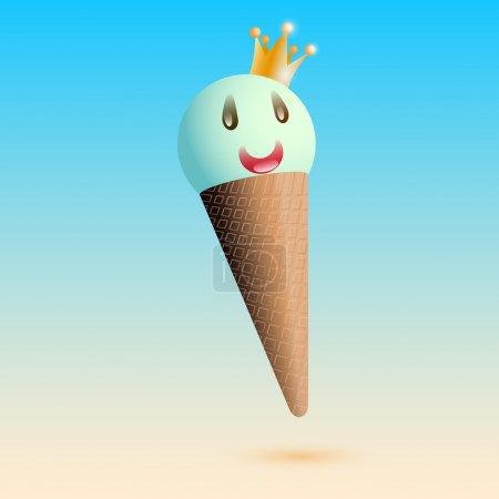 Illustration pour Illustration vectorielle de la glace souriante avec couronne - image libre de droit