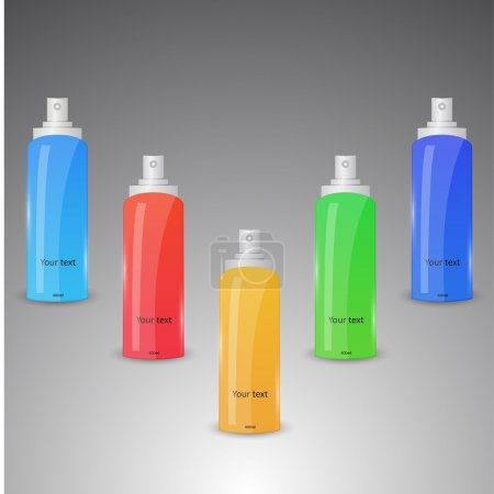 Illustration for Collection of colorful spray bottles - Royalty Free Image