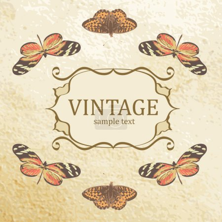 Vintage background with butterflies. Vector.