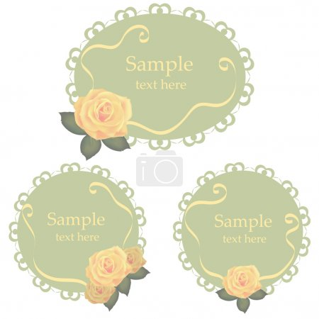 Vector floral lace frames with roses