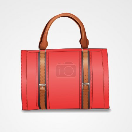 Vector illustration of red leather briefcase