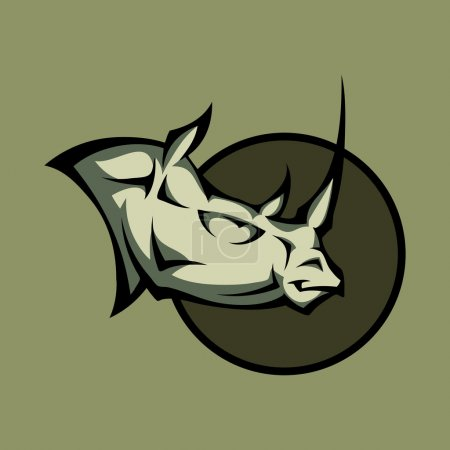 Vector illustration of a angry rhino head