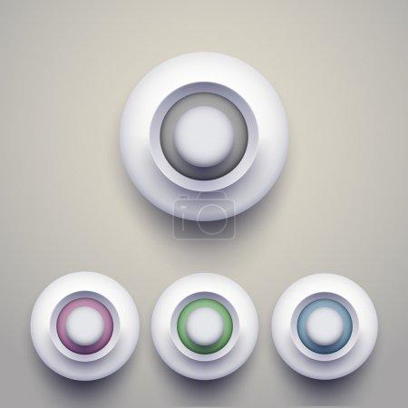 Illustration pour Ensemble de boutons 3d colorés. Illustration vectorielle. - image libre de droit