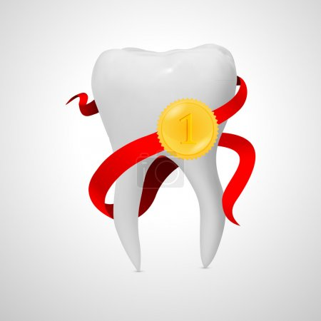 Illustration for Tooth with red ribbon, Isolated On White Background, Vector Illustration - Royalty Free Image