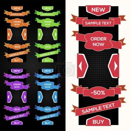 Illustration pour Collection de rubans de vente vectorielle, autocollants, onglets - image libre de droit