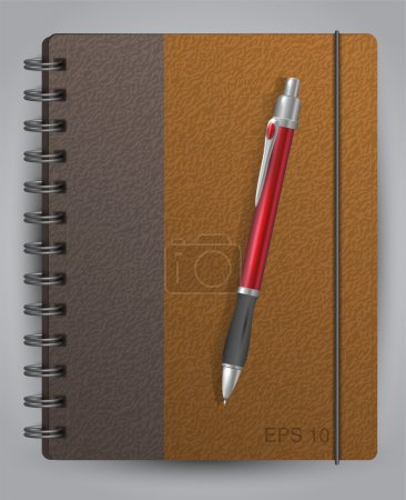 Vector diary with classic pen