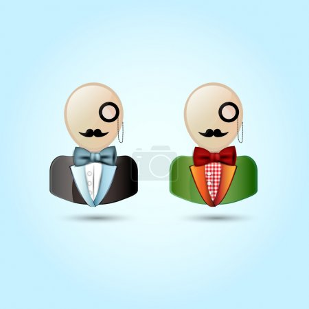 Faces with mustaches, monocle, suits, and a bow tie - vector illustration.