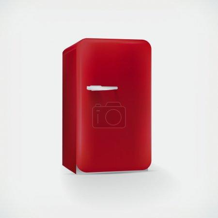 Illustration pour Réfrigérateur vectoriel rouge, illustration vectorielle - image libre de droit