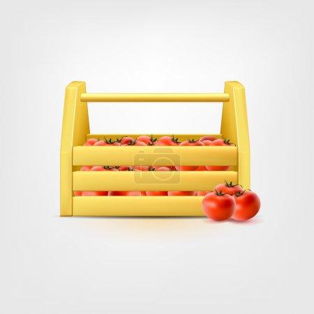 Illustration pour Tomates dans une boîte horizontale en bois - image libre de droit